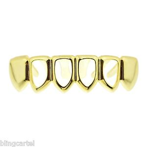 14k Gold Plated Four Open Face Tooth Grillz Bottom Row Lower Teeth Hip Hop Grill