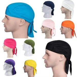Men-Durag-Bandana-Sports-Du-Rag-Scarf-Head-Zandana-Tie-Down-Band-Biker-039-s-Cap-UK
