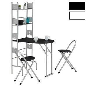 Ensemble Table Et Chaise Cuisine.Details Sur Ensemble Table De Cuisine Pliable Comptoir Avec Etageres Et 2 Chaises En Metal