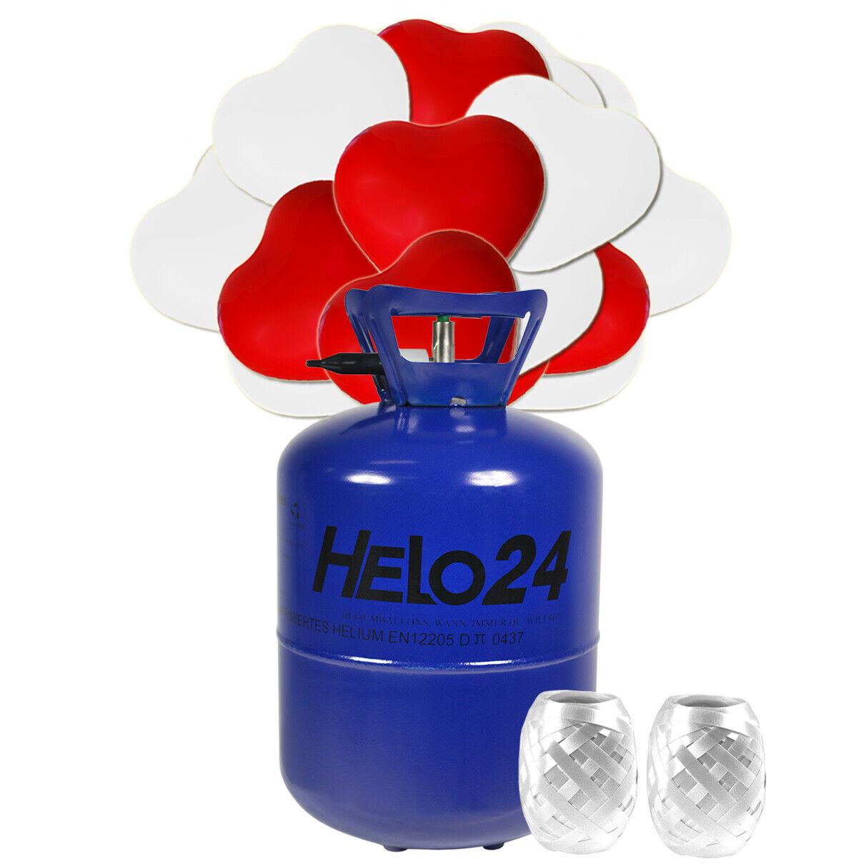 Helium Ballongas  ca. 0,42 m³ inkl 50 50 50 Luftballons Hochzeit HERZ ROT und WEIß ed7e7d