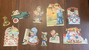 Lot-of-10-Antique-and-Vintage-Valentines-Cards-Some-Movable