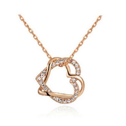 Romantique Amant Cœur Pendentif Chaîne Collier Avec Double Coeur Pendentif Cristal