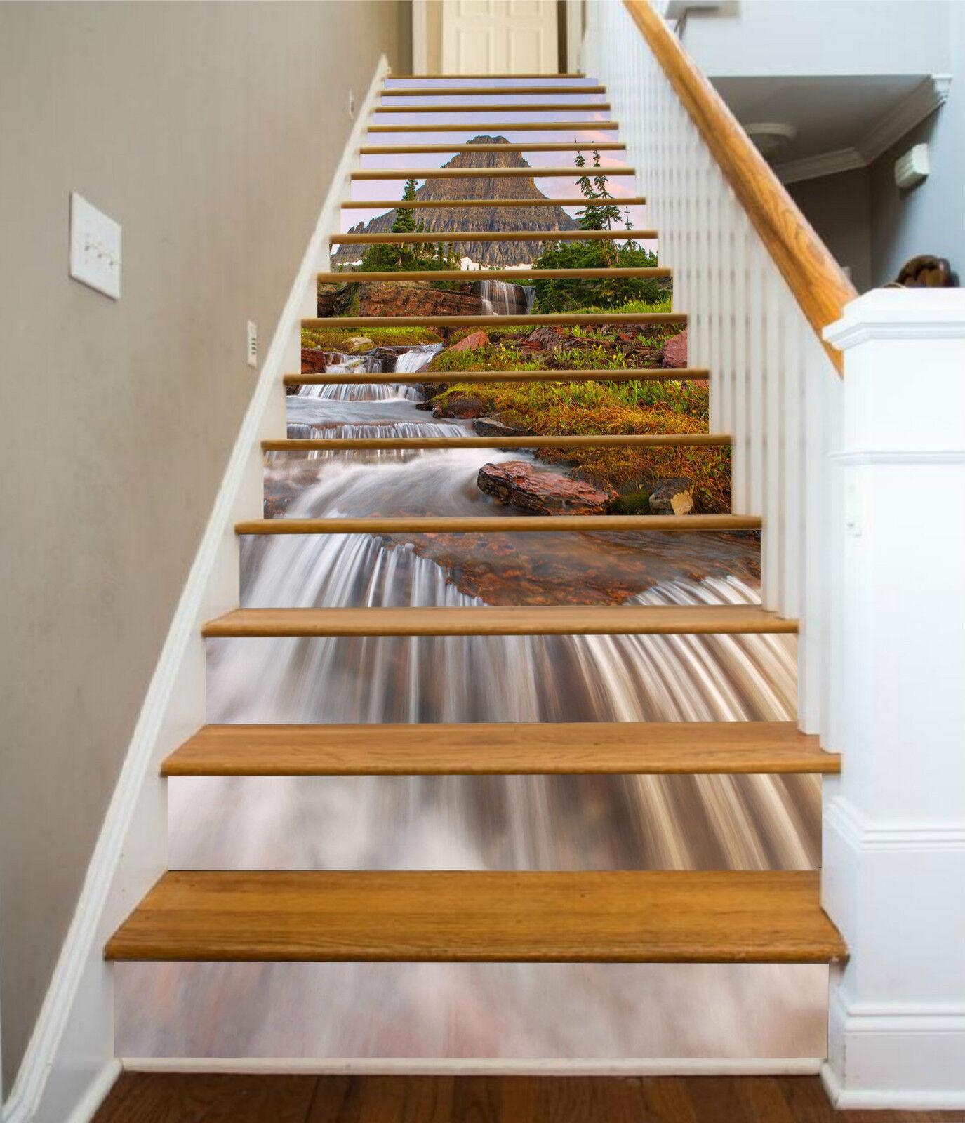 3d Pierre fleuve 061 Stair Risers Décoration Papier Peint Vinyle Autocollant Papier Peint De