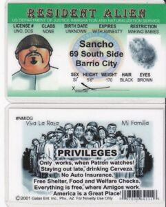Details about RESIDENT ALIEN Sancho South Side of the Barrio Drivers  License fake id i d  card
