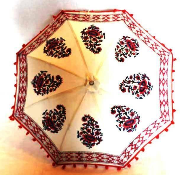 Hippie Indian Cotton Hand Block Printed Vintage Umbrella Outdoor Beach Parasol