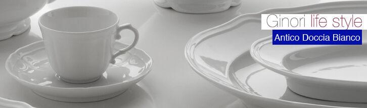 Richard Ginori - Antico Doccia Bianco - 12 tazze caffè con piatto - Rivenditore