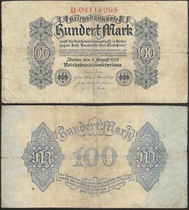 GERMANY-100-mark-1922-P-75-Europe-banknote-Edelweiss-Coins