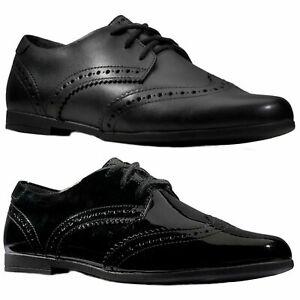 Detalles de Niña Clarks Scala Encaje Negro Zapato Oxford Estilo Zapatos con Cordones
