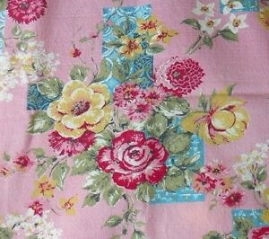 GORGEOUS-PINK-amp-TURQUOISE-BARKCLOTH-PANEL-34-034-BY-62-034-VIBRANT-COLORS-IMMACULATE