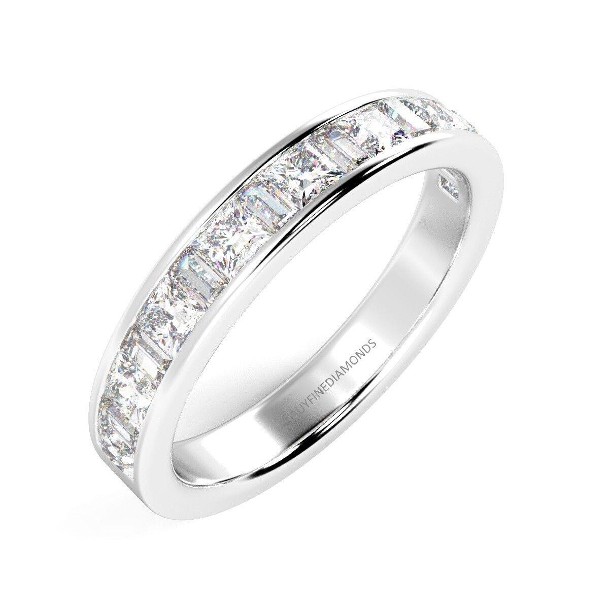 0 50 Ct Princess Amp Baguette Diamond Half Eternity Ring Uk