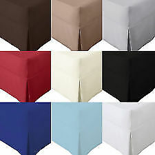 Percale Egyptian Cotton Thread Count 180 Pleated Box Fitted Valance Sheet Plain