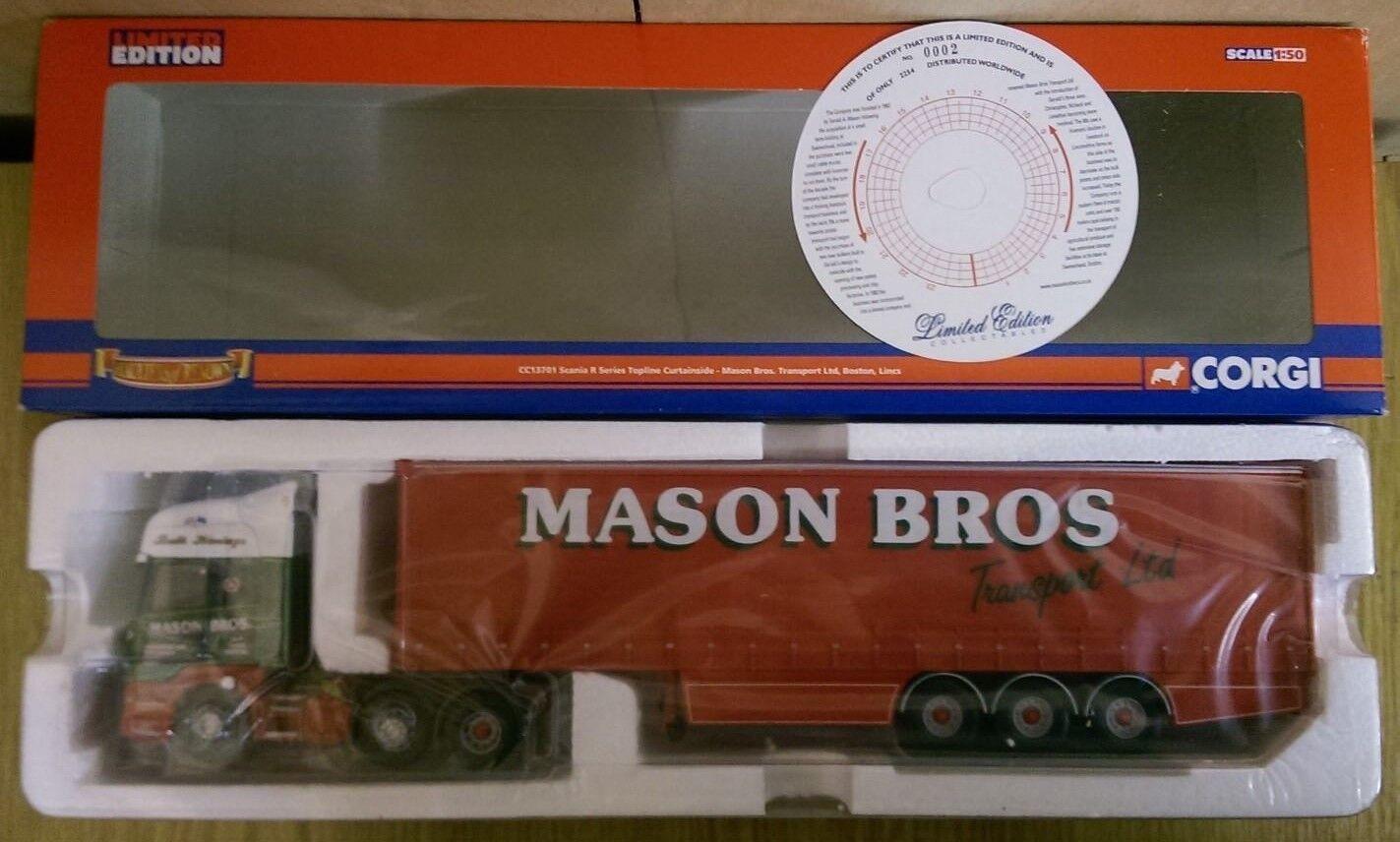 Corgi CC13701 Scania Serie R Topline Curtainside Mason Bros Ltd Ed 0002 de 2254