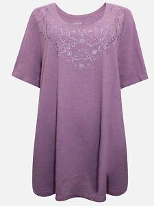 Catherines-T-Shirt-Top-Plus-Groesse-20-22-24-26-28-30-32-34-36-38-flieder-bestickt