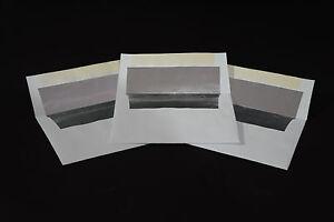 A-8 Announcement Bright White Silver Foil Lined Envelopes - Various Quantities