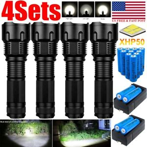 990000LM Zoomable LED XHP50 Flashlight 3 Modes Rechargeable Battery Charger Set