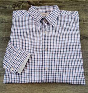 Ermenegildo-Zegna-Long-Sleeve-Dress-Shirt-Mens-Size-XL-Blue-Pink-Gingham-Checks