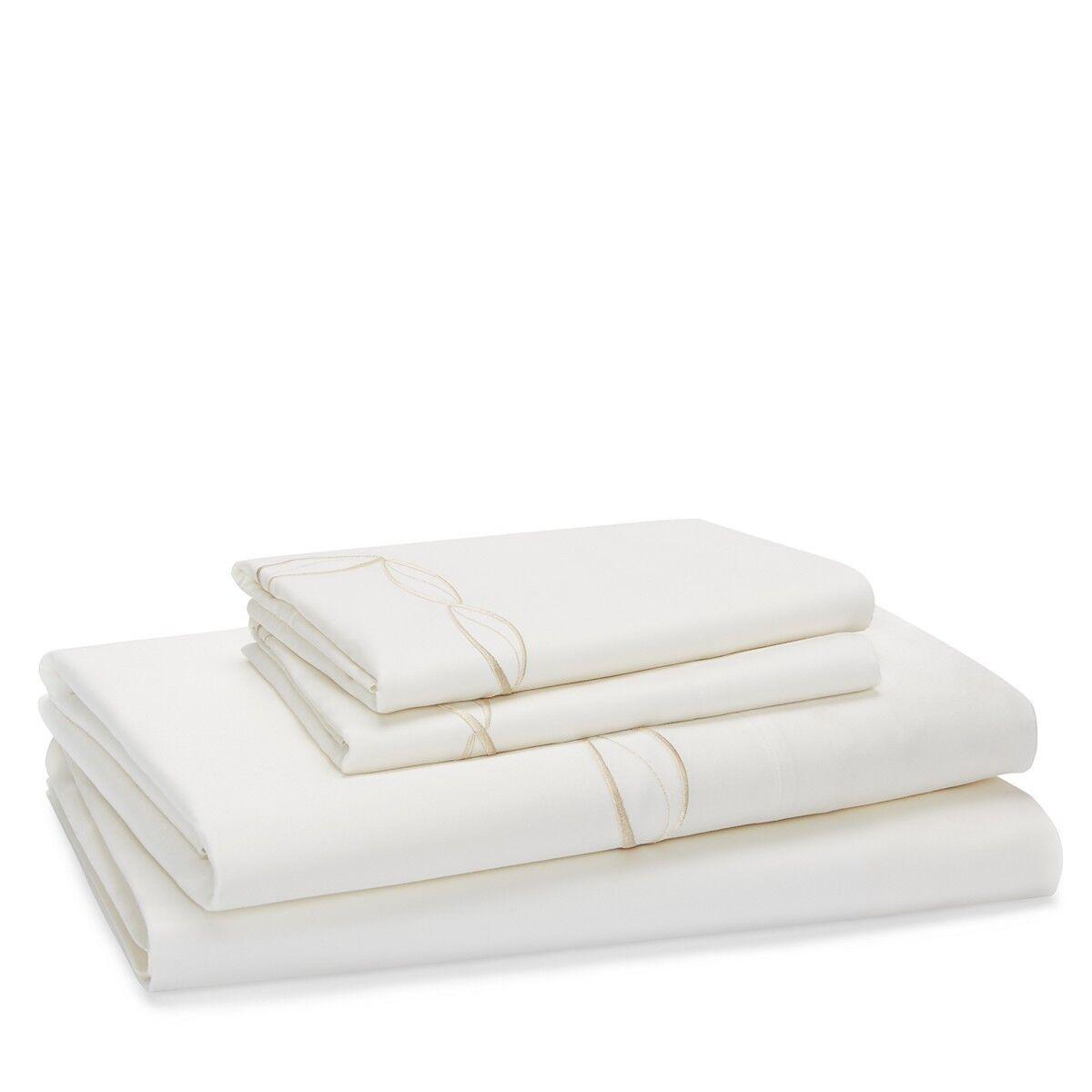 Frette Cardo Ricamo Embroiderot Cotton QUEEN Sheet Set Ivory   Gold A064