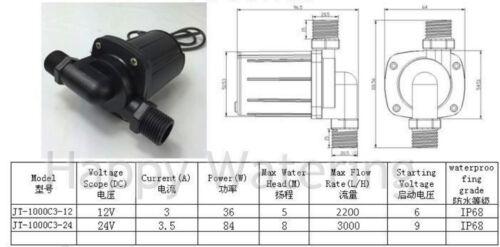 Brushless 3 Phase Water Pump 12V//24V Water Circulation Pump 2200L//H Adjustable