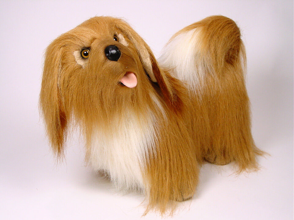 Lifelike Lhasa Apso by Piutre, Hand Made in Italy, Plush Stuffed Animal NWT