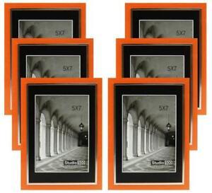 Studio-500-5-by-7-inch-Sleek-Orange-w-Silver-Picture-Frames-12-pieces
