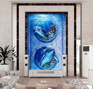 3D Round dolphin 3535 Floor WallPaper Murals Wall Print Decal 5D AJ WALLPAPER