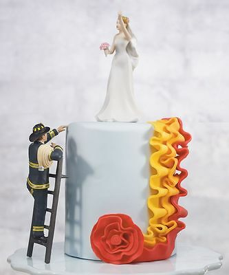 To The Rescue!  Fireman and Bride Wedding Cake Topper