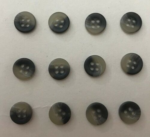 Horn effect shirt buttons 17 ligne 10.5mm x 12 khaki//grey