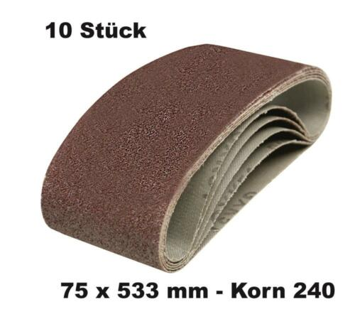 10 DKB Gewebe Schleifbänder  75 x 533 mm Schleifband Bandschleifer Korn 240