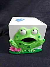 FROG Tissue Box Cover White Cube Green Dragonfly Pink Lily Flower Ceramic