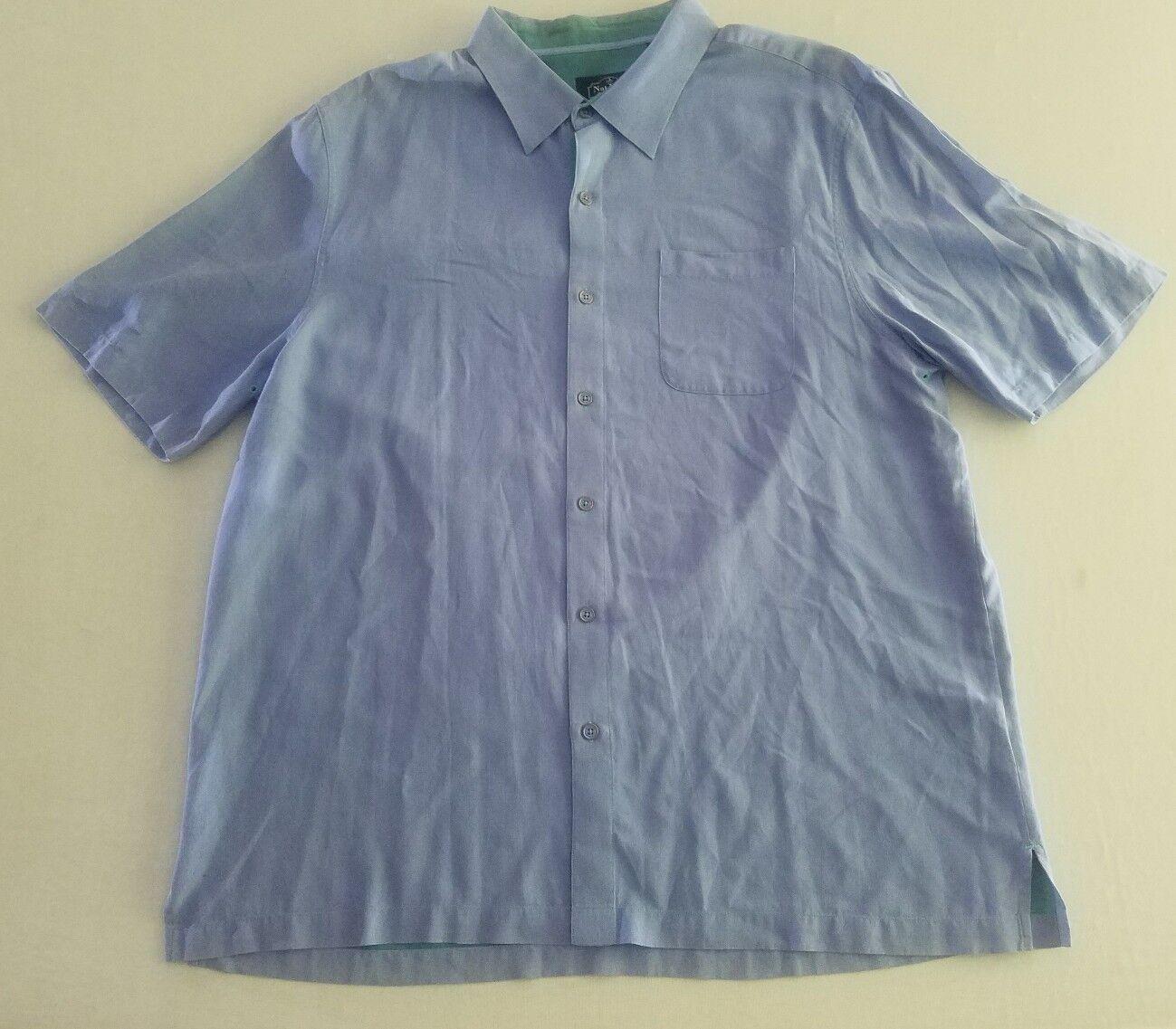 Nat Nast Luxury Men's XL Cotton Linen Silk Blend Camp Shirt bluee Short Sleeve YW