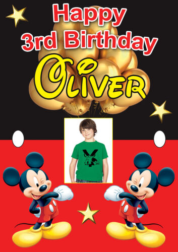 LARGE MICKEY MOUSE BIRTHDAY POSTER BANNER PERSONALISED ANY NAME TEXT ADD PHOTO