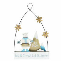 "Sass & Belle Wooden ""Let It Snow"" Polar Bear Christmas Hanging Decoration 15cm"