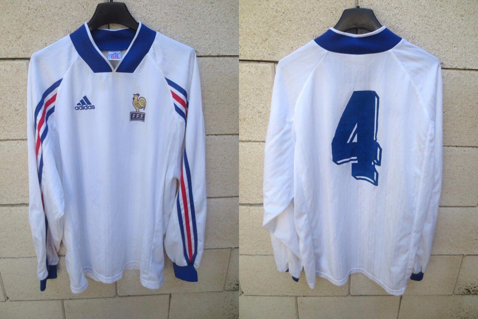 Maillot Equipe de FRANCE porté n°4 vintage ADIDAS shirt manches longues trikot