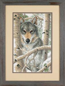 1x Estampillé Cross Thread Stitch Glaciale Wolf Sewing Craft Outil Hobby Art Uk-afficher Le Titre D'origine Limpide à Vue