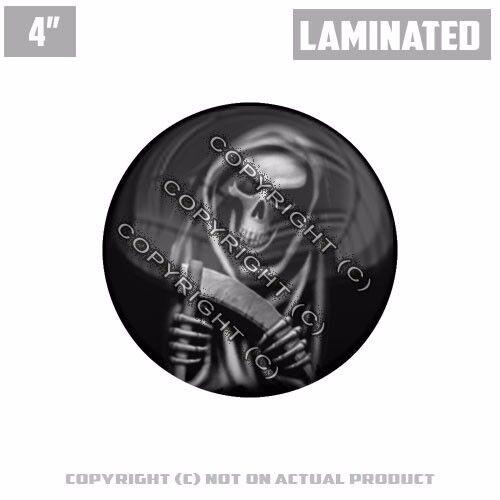 "1 Custom Thick Laminated Glossy 4/"" 3M Premium Decal Sticker GRIM REAPER SKULL R"