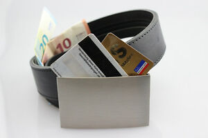 2-en-1-Cuero-Cinturon-para-dinero-caja-fuerte-Card-Hebilla-2-tarjetas-CE