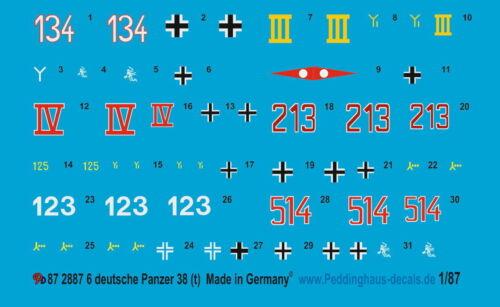 Peddinghaus 2887 1//87 Beschriftungen für 6 deutsche Panzer 38 t