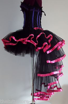 Black Pink Burlesque Dita Tutu Skirt XS S  M  L XL Sexy Bustle Steam punk