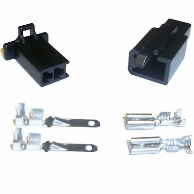 2.8mm 110 series Motorcycle Mini-Latch - Wiring Connector Set - 2 way (BLACK)
