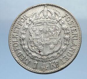 1939-Sweden-GUSTAF-V-Silver-Krona-Crowned-ARMS-Antique-Vintage-Coin-i69891