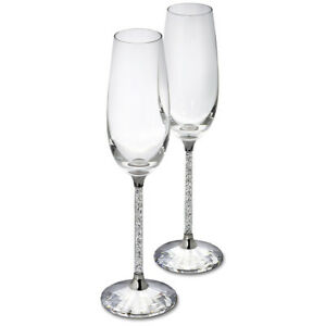 Swarovski-255678-CRYSTALLINE-TOASTING-FLUTES-SET-OF-2-NIB-AUTHENTIC