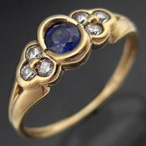 Solid-9k-Yellow-GOLD-NATURAL-BLUE-SAPPHIRE-amp-6-Cubic-Zirconia-RING-Small-Sz-H