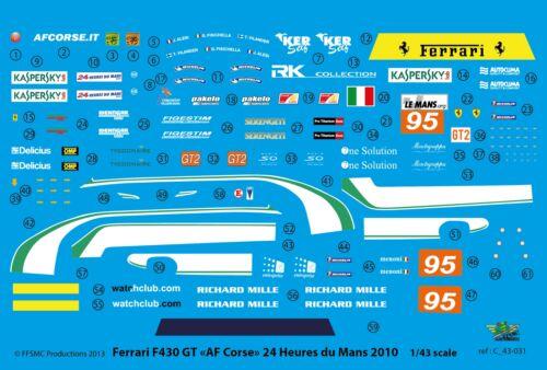 """LM 2010 FFSMC Productions Decals 1//43 Ferrari F-430 LMGT2 /""""AF Corse/"""""""
