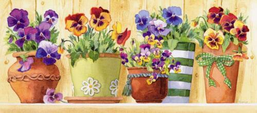 Grafitec Printed Tapestry//Needlepoint Canvas Pansy Pots