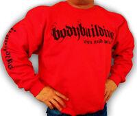 Bodybuilding Clothing Sweatshirt Workout Top Red Iron & Pain Logo D-27