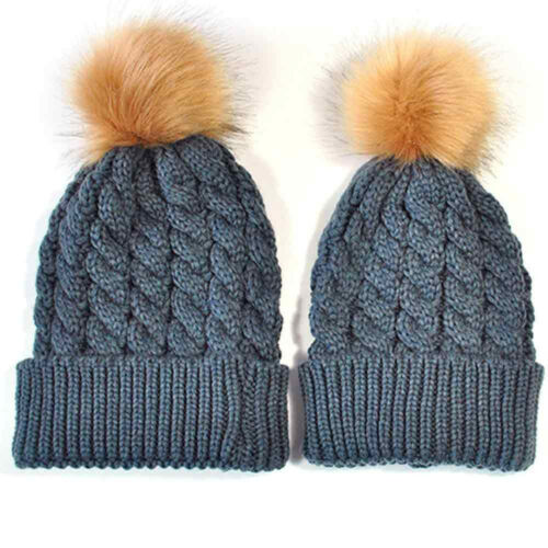 Warm Winter 2PCS Mother+Baby Newborn Knit Pom Bobble Hat Girl Boy Cotton Cap WE
