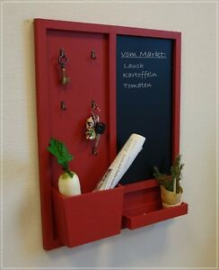 gro es memoboard mit schl sselbrett und tafel rot holz vintage used look neu ebay. Black Bedroom Furniture Sets. Home Design Ideas