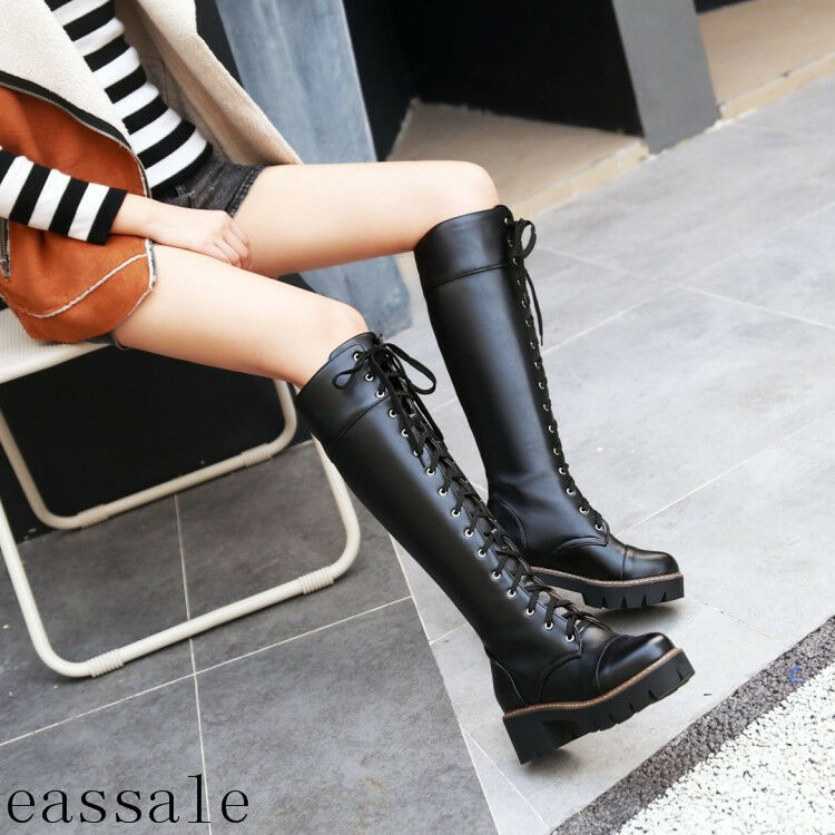 Women's Knee High Long Boots Lace Up Platform Gothic Punk Combat Military Boots