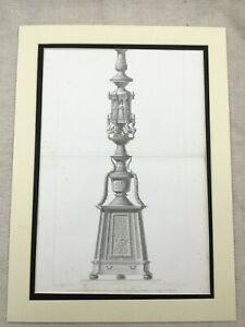 1857-Antique-Architectural-Print-Bronze-Pillar-Verona-Italy-St-Maria-Large