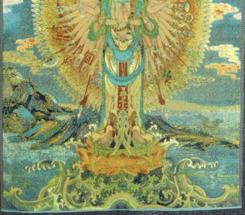 Superb old Chinese Tibet and Nepal silk embroidery thangka hand guanyin Y1